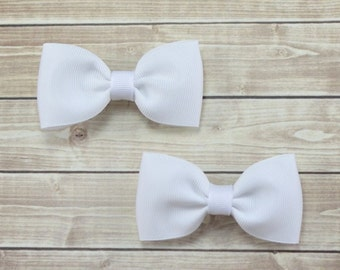 White Hair Bow Clips, White Pigtail Bows, Solid White Pigtail Hair Bows, Solid Hair Bows, Flower Girl Hair Bows, White Bow Clips, White Clip