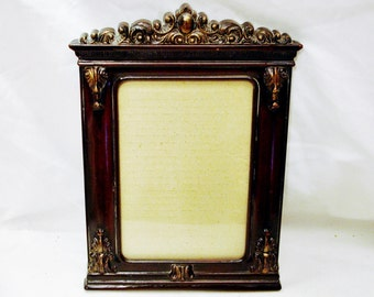 "Walnut Wood-Like Molded Resin Ornate Frame for 5"" X 7"" Photo-Made in Taiwan R.O.C."