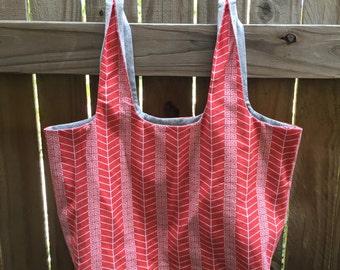 Reusable Grocery Bag, Reversible - Greek Pattern