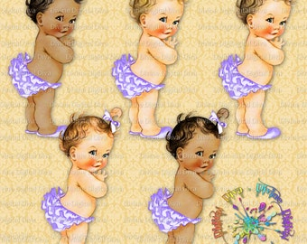 Princess Ruffle Pants Purple Lavender Lilac Orchid | Vintage Baby Girl | 3 Skin Tones | Clipart Instant Download