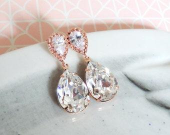 Rose Gold Bridal Swarovski Crystal Teardrop Earring - bridal gifts, drop dangle, pink gold weddings, bridesmaid earrings, Sandra