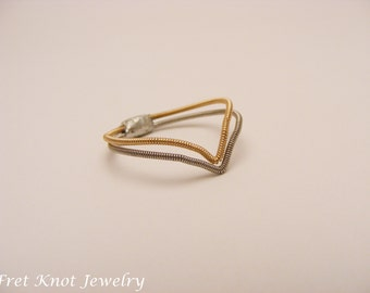 Chevron Guitar String Ring - Recycled