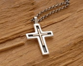 Unique Cross Necklace for Men Women, Silver and Gold Christening Gift Idea, Double Cross Pendant ST599