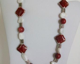 Medium Red and White Ceramic Beaded Necklace
