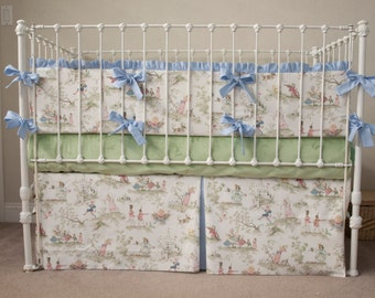 Classic Story Time Toile Baby Boy / Girl Blue, Sage, White Crib Cot Bedding with Bumper