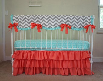 Coral Gray Mint Baby Bedding, Bumperless Crib Bedding. Chevron Nursery.