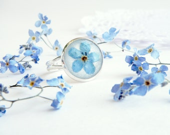 Small ring Forget me not ring Blue flower ring Real flower ring Forget me not jewelry Gift for girlfriend Anniversary ring Nature jewelry