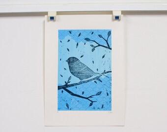 Birdie Linocut and Screenprint