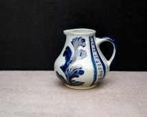 Cobalt Blue Pitcher | German Decor | Small Pitcher | Decorative Dishes | Hand Painted Signed | Decorative Art |Gray Blue