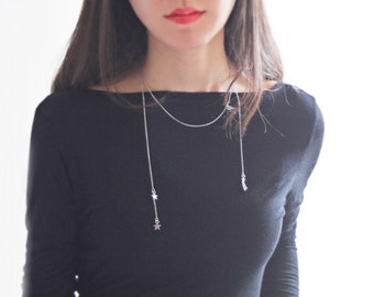 shooting star - Lariat Necklace, Y Necklace, Star Necklace, Open Necklace, Back Necklace, Long Necklace