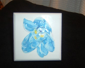 Hand Painted Pin Box with paper tole delphinium flower finish