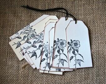 Handmade Tags: Vintage looking hang tags, 12 tags with flowers, handcut tags, handmade tags, handstamped tags