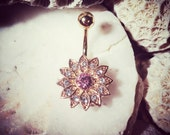 Rosemary Jewelled Gold Belly Bar | 14G Floral Navel Bar Pink Flower Belly Gem Navel Ring Rhinestone Crystal Belly Ring Belly Button Ring