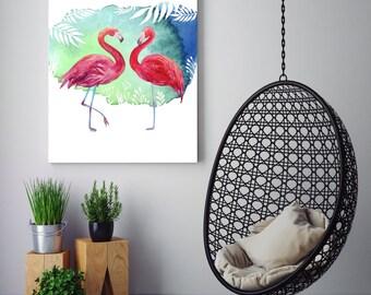 Watercolour Flamingo Pair Blue Green Palm Leaves Printable Wall Art Print