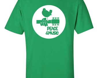 Woodstock festival Peace and Music t shirt Jimi Hendrix Janis Joplin The Who Santana