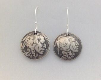 Indian Head Nickel Earrings/Women's earrings/Birthday gift/Christmas Gift/Coin earrings/Indian earrings/wedding gift/