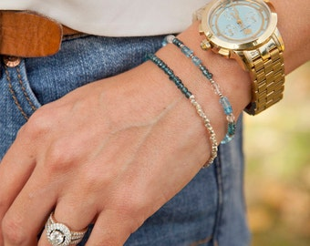London blue topaz faceted gemstone bracelet, thai silver, stacking bracelet, gemstone jewelry, blue gemstone