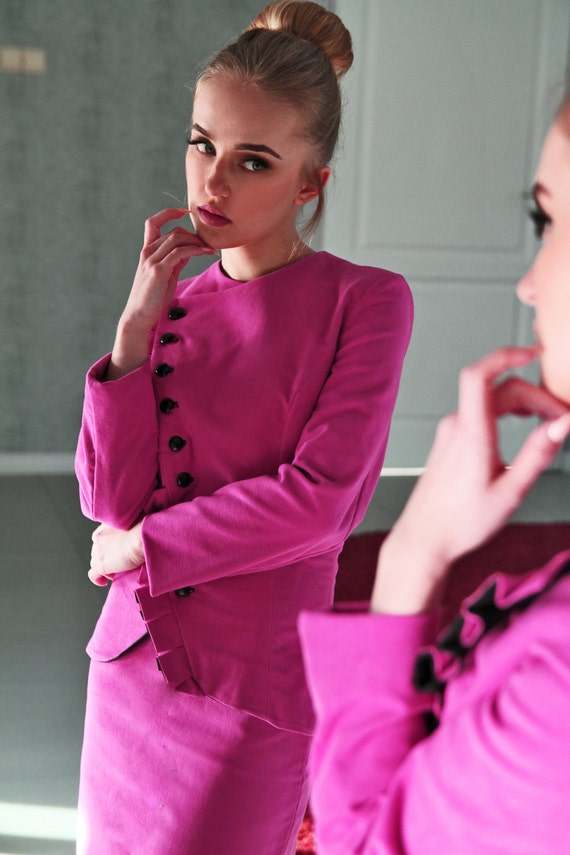 Women fuchsia jacket, women blazer, assymetrical jacket, women suit, women jacket blazer, military jacket