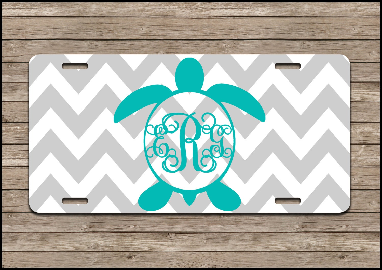 Car Tags: Turtle Monogram License Plate Personalized Monogram Car
