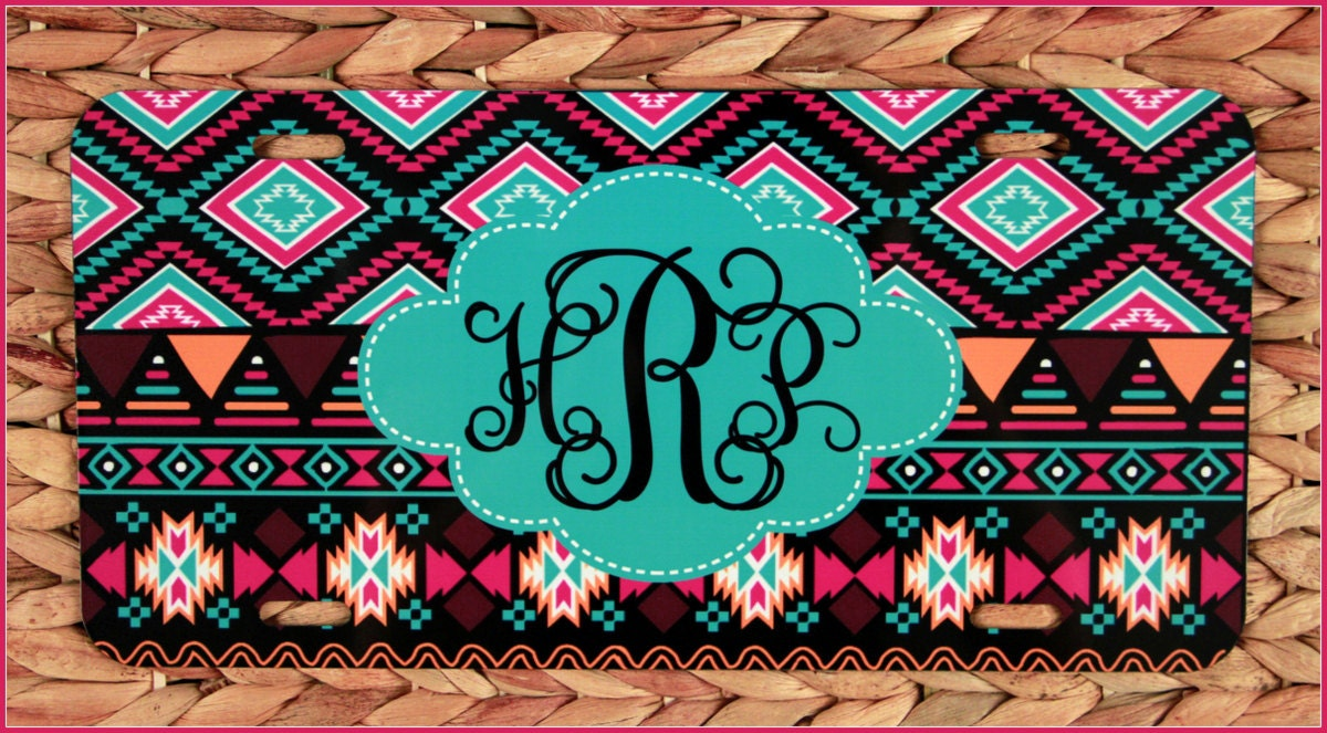 aztec license plate  tribal design car tag  front license plate personalized monogram custom