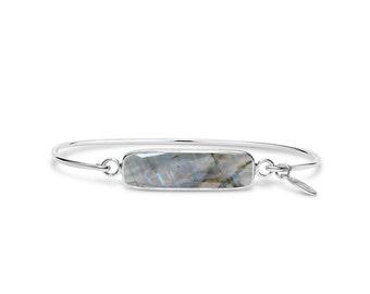 Labradorite Gemstone Bar Bracelet, Simple Bracelet, Bridesmaid Gift, Stackable Bracelet, Layering Bracelet, Unique Jewelry Gift