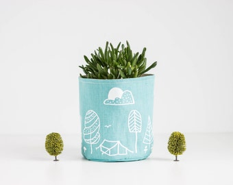 "Mint Linen Basket, Mint linen storage, Fabric container, Fabric planter, Screen printed ""Camping"" design"
