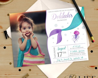 Watercolor Siren Mermaid Under The Sea Birthday Invitation Printable DIY No. I279