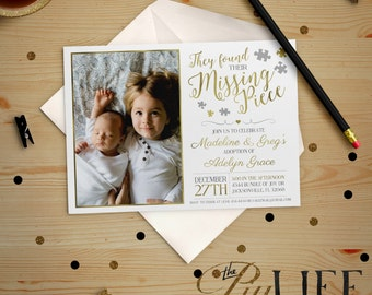 Gold Foil Found their Missing Piece Photo Adoption Party Baby Shower Invitation Printable DIY No. I232