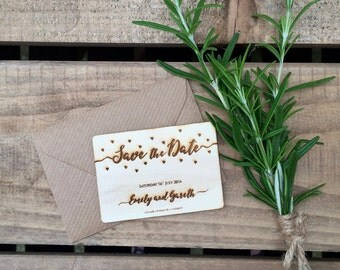 SAMPLE // Engraved Wooden Save the Date Confetti Hearts // 74 X 52mm // Wedding Invitation