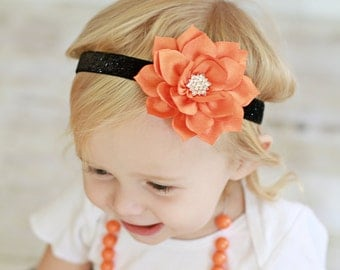Halloween Headband - Orange Flower Headband -  Black Glitter Headband - Halloween Hair Bow - Baby Halloween Headband