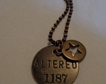 """Inspirational Stamped Necklace. """"Altered"""" Mixed Metal Tones"""