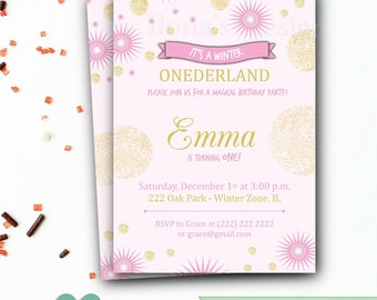 Pink and Gold Invitation - 1st Birthday Invitation - Winter Onederland - Gold Glitter Invitation - Baby Girl Birthday Invitation - Printable