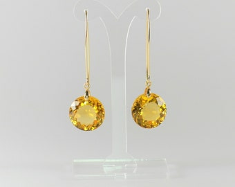 Silver gold plated earrings with large blilliant cut citrine