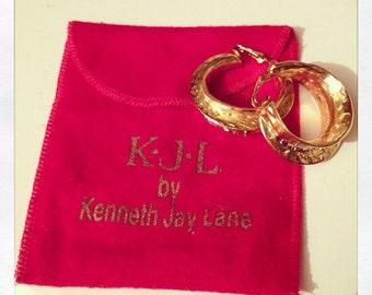 Kenneth Jay Lane 22K circle earrings