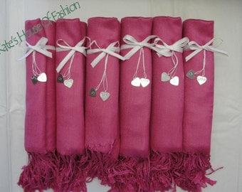 Fuchsia Pashmina Style Shawl. Wedding Wraps. Bridesmaid Wrap.   Fuchsia Pashmina.  Pink Pashmina. -  Ships from USA