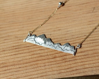 Mountain Bar Necklace - Recycled Sterling Silver and 14k Gold Fill