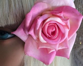 Darling Dusty Pretty in Pink Rose Hair Clip, vintage inspired, retro, bridal, wedding, bridesmaids, rockabilly, burlesque, pinup, corsage