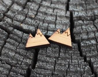 Mountain Earrings - Bamboo - Laser Cut - Hand Made Earrings - Wood Earrings - Outdoors