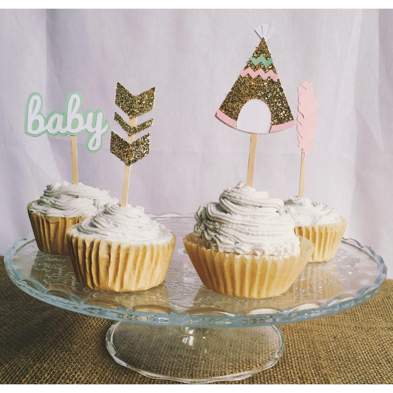 Aztec baby shower cupcake topper tribal cupcake topper aztec