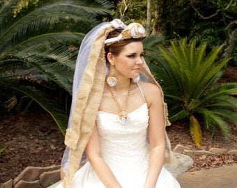 Untarnished Burlap Wedding - Bridal Veil - Rustic Wedding - Blusher Veil - Bridal Veil - Unique Veil - Autumn Wedding - Country Wedding