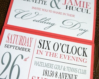 coral pink gray black love birds seal and send custom wedding invitation