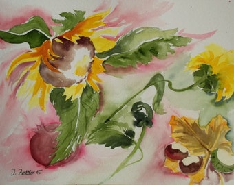 Autumn Celebration, Sunflower  Painting with Chestnuts, Original Watercolor,