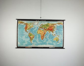 Vintage pull down school map of the world