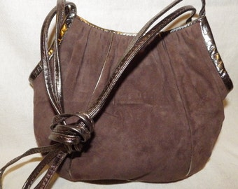 1980s Vintage Suede Leather Handbag Genie Made in Italy Mocha with Pewter Leather Shoulder Bag Crossbody