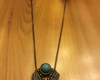 """Turquoise Aztec Necklace - 19"""" bronze and turquoise"""