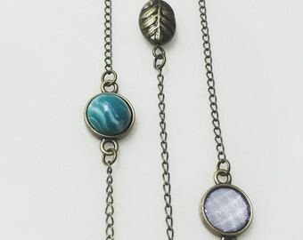 "Short Charm Necklace - 15"" bronze necklace with turquoise, opal, or bronze leaf charm"