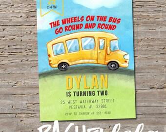 School Bus, colorful, birthday invitation, digital print, Wheels on the Bus