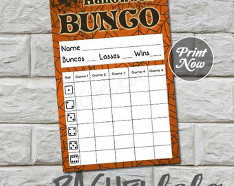 Halloween Bunco score card, instant download