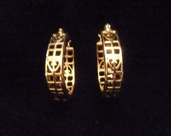 Gold Tone Filigree Earrings with Hearts, Pierced