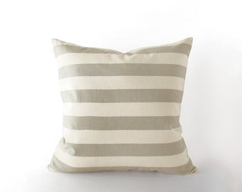 Striped light taupe and beige decorative pillow cover in 16x16 inches - 18x18 inches - 20x20 inches and more sizes, neutral outdoor decor